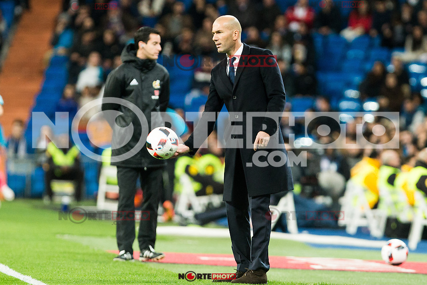 "Real Madrid's Real Madrid's coach Zinedine Zidane during the match of ""Copa del Rey"" between Real Madrid and Cultural Leonesa at Santiago Bernabeu Stadium in Madrid, Spain. November 29, 2016. (ALTERPHOTOS/Rodrigo Jimenez) /NORTEPHOTO.COM"