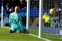1st February 2020; King Power Stadium, Leicester, Midlands, England; English Premier League Football, Leicester City versus Chelsea; Willy Caballero of Chelsea watches the ball bounce into the net for Ben Chilwell's goal after 64 minutes for 2-1