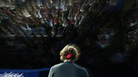 Alexander Zverev during his match against Novak Djokovic in their singles Final match today<br /> <br /> Photographer Rob Newell/CameraSport<br /> <br /> International Tennis - Nitto ATP World Tour Finals Day 8 - O2 Arena - London - Sunday 18th November 2018<br /> <br /> World Copyright &copy; 2018 CameraSport. All rights reserved. 43 Linden Ave. Countesthorpe. Leicester. England. LE8 5PG - Tel: +44 (0) 116 277 4147 - admin@camerasport.com - www.camerasport.com