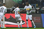06.10.2019, Borussia-Park - Stadion, Moenchengladbach, GER, DFL, 1. BL, Borussia Moenchengladbach vs. FC Augsburg, DFL regulations prohibit any use of photographs as image sequences and/or quasi-video<br /> <br /> im Bild Patrick Herrmann (#7, Borussia Moenchengladbach) jubelt nach seinem Tor zum 2:0 mit Marcus Thuram  (#10, Borussia Moenchengladbach) <br /> <br /> Foto © nordphoto/Mauelshagen
