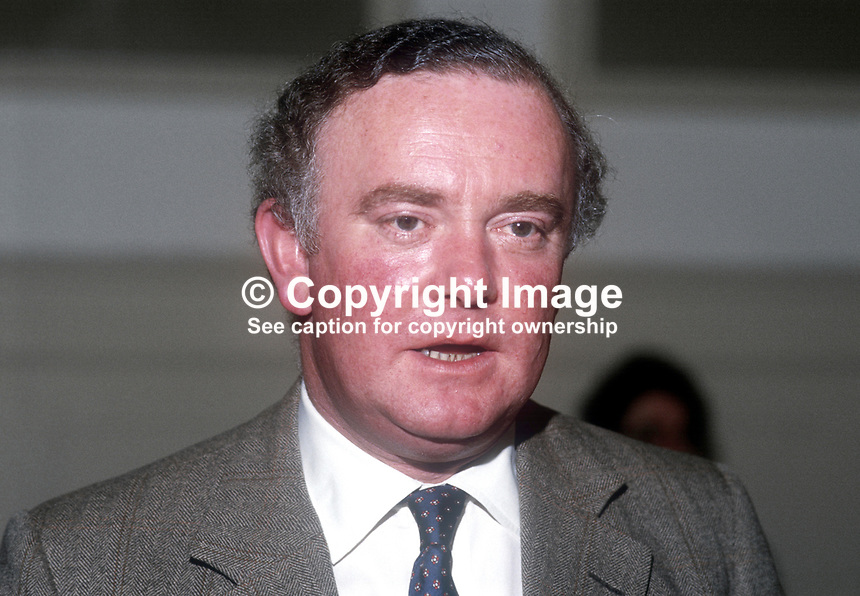 Peter Morrison, MP, Conservative Party &amp; Trade and Industry Minister, May 1986, 19860504PM<br />