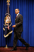 United States President Barack Obama arrives to make a statement to the press regarding the US-Korea Trade Agreement, in the Old Executive Office Building on Saturday, December 4, 2010, in Washington, DC. .Credit: Leslie E. Kossoff - Pool via CNP