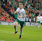 9th October 2017, Cardiff City Stadium, Cardiff, Wales; FIFA World Cup Qualification, Wales versus Republic of Ireland; James McClean celebrates scoring for Republic of Ireland