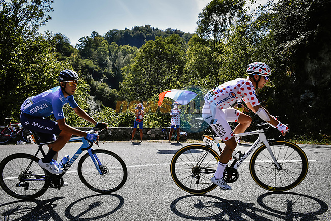 Polka Dot Jersey Benoit Cosnefroy (FRA) AG2R La Mondial  and Carlos Verona (ESP) Movistar Team in the breakaway during Stage 8 of Tour de France 2020, running 141km from Cazeres-sur-Garonne to Loudenvielle, France. 5th September 2020. <br /> Picture: ASO/Pauline Ballet   Cyclefile<br /> All photos usage must carry mandatory copyright credit (© Cyclefile   ASO/Pauline Ballet)