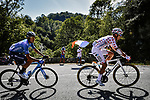 Polka Dot Jersey Benoit Cosnefroy (FRA) AG2R La Mondial  and Carlos Verona (ESP) Movistar Team in the breakaway during Stage 8 of Tour de France 2020, running 141km from Cazeres-sur-Garonne to Loudenvielle, France. 5th September 2020. <br /> Picture: ASO/Pauline Ballet | Cyclefile<br /> All photos usage must carry mandatory copyright credit (© Cyclefile | ASO/Pauline Ballet)