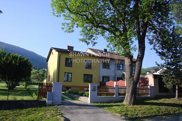 View of Viennes houses en route to Bratislava, Slovakia.