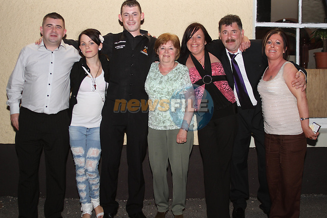 Karl O'Donoghue with Peter, his sister Niamh, gran Margaret, mam Maria, dad Alan and aunt Frances at the Party for the 2010 U21 World Pool Champion in Alverno House, Laytown....Photo NEWSFILE/Jenny Matthews.(Photo credit should read Jenny Matthews/NEWSFILE)....This Picture has been sent you under the condtions enclosed by:.Newsfile Ltd..The Studio,.Millmount Abbey,.Drogheda,.Co Meath..Ireland..Tel: +353(0)41-9871240.Fax: +353(0)41-9871260.GSM: +353(0)86-2500958.email: pictures@newsfile.ie.www.newsfile.ie.FTP: 193.120.102.198.
