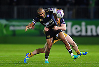 Jonathan Joseph of Bath Rugby is tackled in possession. European Rugby Challenge Cup match, between Bath Rugby and Bristol Rugby on October 20, 2016 at the Recreation Ground in Bath, England. Photo by: Patrick Khachfe / Onside Images