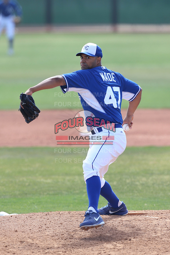 Corey Wade #47 of the Kansas City Royals pitches during a Minor League Spring Training Game against the San Diego Padres at the Kansas City Royals Spring Training Complex on March 26, 2014 in Surprise, Arizona. (Larry Goren/Four Seam Images)