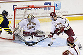 Rhett Bly (Merrimack - 19), Parker Milner (BC - 35), Patch Alber (BC - 3) - The Boston College Eagles defeated the visiting Merrimack College Warriors 4-3 on Friday, November 16, 2012, at Kelley Rink in Conte Forum in Chestnut Hill, Massachusetts.