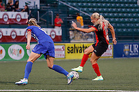 Rochester, NY - Friday June 24, 2016: Western New York Flash forward Adriana Leon (19), Boston Breakers defender Whitney Engen (4) during a regular season National Women's Soccer League (NWSL) match between the Western New York Flash and the Boston Breakers at Rochester Rhinos Stadium.