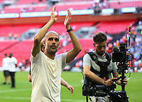 Manchester City Manager, Pep Guardiola, applauds the fans at the end of the match during Chelsea vs Manchester City, FA Community Shield Football at Wembley Stadium on 5th August 2018
