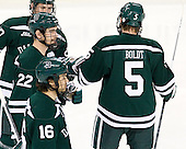 Taylor Boldt (Dartmouth - 5) joins his fellow starters. - The Boston College Eagles defeated the visiting Dartmouth College Big Green 6-3 (EN) on Saturday, November 24, 2012, at Kelley Rink in Conte Forum in Chestnut Hill, Massachusetts.