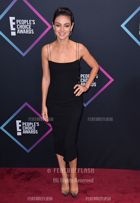 LOS ANGELES, CA. November 11, 2018: Mila Kunis at the E! People's Choice Awards 2018 at Barker Hangar, Santa Monica Airport.<br /> Picture: Paul Smith/Featureflash