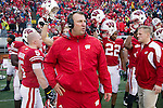 Wisconsin Badgers Head Coach Bret Bielema looks on prior to the opening kickoff during an NCAA Big Ten Conference college football game against the Penn State Nittany Lions on November 26, 2011 in Madison, Wisconsin. The Badgers won 45-7. (Photo by David Stluka)