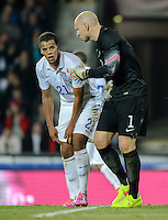 PRAGUE, Czech Republic - September 3, 2014: USA's Brad Guzan and Timmy Chandler during the international friendly match between the Czech Republic and the USA at Generali Arena.