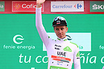 Tadej Pogacar (SLO) UAE Team Emirates retains the young riders White Jersey at the end of Stage 17 of La Vuelta 2019, the fastest stage ever in the history of Grand Tours at 50.6km/h, running 219.6km from Aranda de Duero to Guadalajara, Spain. 11th September 2019.<br /> Picture: Luis Angel Gomez/Photogomezsport | Cyclefile<br /> <br /> All photos usage must carry mandatory copyright credit (© Cyclefile | Luis Angel Gomez/Photogomezsport)