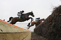 Race winner American Cricket ridden by Paul Moloney (L) jumps the open ditch during the the Robert Case Memorial Beginners Chase