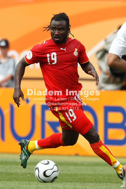 NUREMBERG, GERMANY - JUNE 22:  Razak Pimpong of Ghana in action during a 2006 FIFA World Cup soccer match against the United States June 22, 2006 in Nuremberg, Germany.  (Photograph by Jonathan P. Larsen)