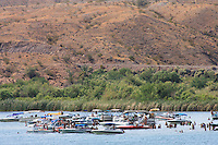 Boating fun on the Colorado River near Parker, Arizona along the California shore.