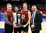 KENOSHA, WI - APRIL 28:  The Stevens Institute Men's Volleyball team celebrates their Runner up Finish at the Division III Men's Volleyball Championship held at the Tarble Athletic and Recreation Center on April 28, 2018 in Kenosha, Wisconsin. (Photo by Steve Woltmann/NCAA Photos via Getty Images)