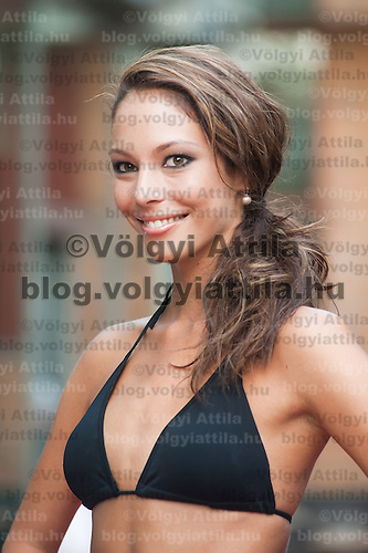 Dora Szabo a participant of the Beauty Queen contest attends a bikini tour in Hotel Abacus, Herceghalom, Hungary on July 07, 2011. ATTILA VOLGYI