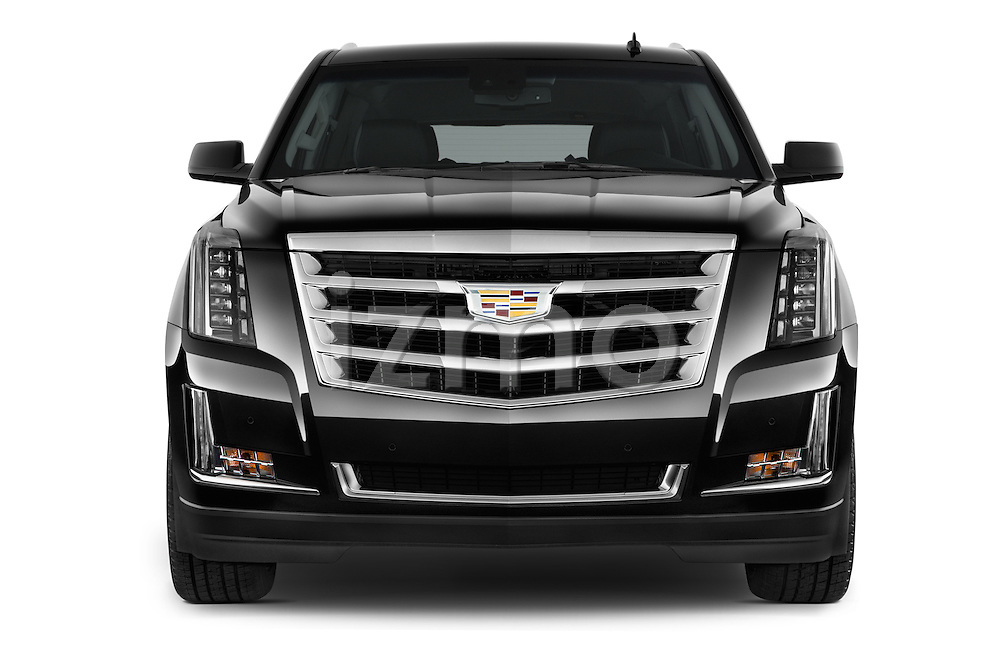 Car photography straight front view of a 2017 Cadillac Escalade-ESV Luxury 5 Door SUV Front View