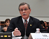 """Washington, DC - December 5, 2008 -- Ron Gettelfinger, President, United Auto Workers testifies during the United States House Financial Services Committee hearing """"On review of industry plans to stabilize the financial condition of the American automobile industry""""  in Washington, D.C. on Friday, December 5, 2008.  He was there with other automotive industry leaders to request $35 billion in loans from Congress to insure the United States auto industry's  survival.  .Credit: Ron Sachs / CNP"""