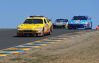 Jun. 21, 2009; Sonoma, CA, USA; NASCAR Sprint Cup Series driver Clint Bowyer leads a pack of cars during the SaveMart 350 at Infineon Raceway. Mandatory Credit: Mark J. Rebilas-