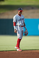 Lakewood BlueClaws shortstop Luis Garcia (3) on defense against the Kannapolis Intimidators at Kannapolis Intimidators Stadium on July 18, 2019 in Kannapolis, North Carolina. The Intimidators defeated the BlueClaws 7-1. (Brian Westerholt/Four Seam Images)