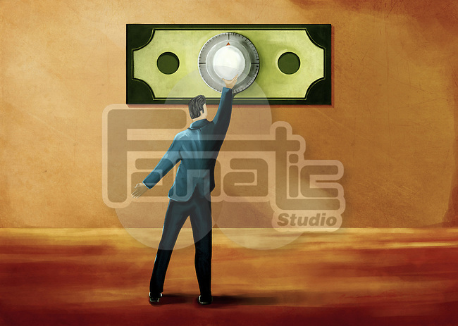 Illustrative image of businessman opening money vault