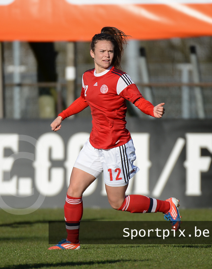 20150404 - LANDGRAAF , Netherlands :<br /> <br /> Danish Sofie Broch-Lips<br /> , pictured during the female soccer match between Women Under 19 teams of Denmark and Slovenia , on the first matchday  in Group 6 of the UEFA Elite Round Women Under 19 at the Sportcomplex Strijthagen Stadium , Landgraaf , Netherlands<br /> <br /> Thursday 31 march 2015<br /> foto Dirk Vuylsteke / David CATRY
