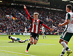 David Brooks of Sheffield Utd turns away thinking he had scored during the Championship League match at Bramall Lane Stadium, Sheffield. Picture date 19th August 2017. Picture credit should read: Simon Bellis/Sportimage