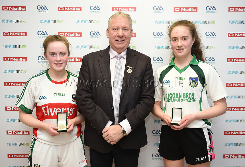 19/03/2018; 40x20 All Ireland Juvenile Championships Finals 2018; Kingscourt, Co Cavan;<br /> Girls Under-17 Singles; Mayo (Claire Reynolds) v Limerick (Aisling Shanahan)<br /> Claire Reynolds and Aisling Shanahan with GAA Handball President Joe Masterson<br /> Photo Credit: actionshots.ie/Tommy Grealy