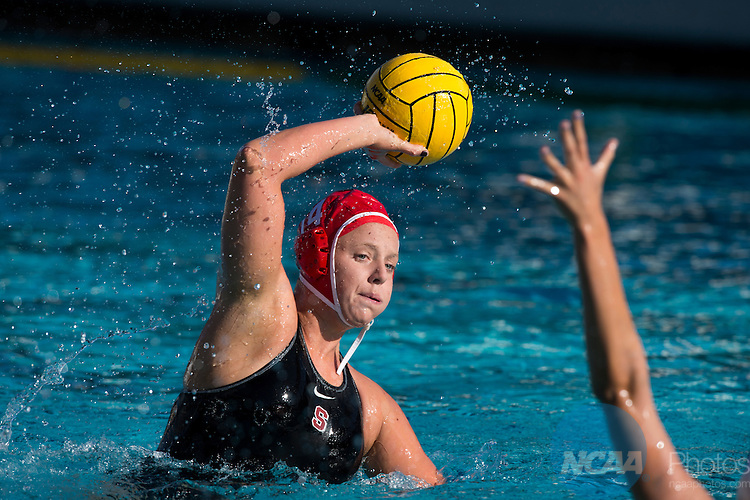 11 MAY 2014:  Kelsey Suggs (14) of Stanford University holds the ball during the Division I Women's Water Polo Championship held at McDonalds Swim Stadium on the USC campus in Los Angeles, CA.  Stanford defeated UCLA 9-5 to win the national title.  Matt Brown/NCAA Photos