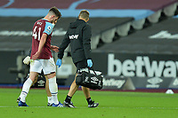 Declan Rice of West Ham United walks off half time during West Ham United vs Newcastle United, Premier League Football at The London Stadium on 12th September 2020