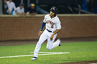 Jason Martin (6) of the Buies Creek Astros hustles towards home plate against the Wilmington Blue Rocks at Jim Perry Stadium on April 29, 2017 in Buies Creek, North Carolina.  The Astros defeated the Blue Rocks 3-0.  (Brian Westerholt/Four Seam Images)