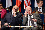 Peter Higgs, (R) and François Englert, Prince of Asturias Award for Technical & Scientific Research, during the 2013 Prince of Asturias Awards ceremony at the Campoamor Theater in Oviedo, Spain. October 25, 2013..(ALTERPHOTOS/Victor Blanco)