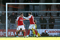 Ched Evans of Fleetwood Town is congratulated after scoring the first goal during Barnet vs Fleetwood Town, Emirates FA Cup Football at the Hive Stadium on 10th November 2019