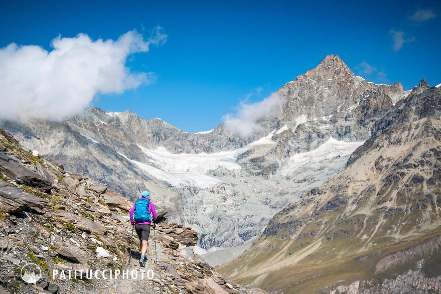 Hiking above Zermatt, Switzerland with the Obergabelhorn in the distance.