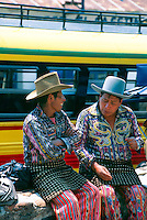 Guatemalan men in native costume at the market, Solola, Lake Atitlan, Western Highlands, Guatemala