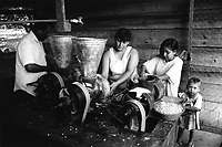 Members of the community processing their daily bowls of fresh maize kernels in order to make tortillas. <br />