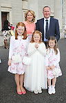 Billie Mynes and her family pictured on First Communion day on Saturday.