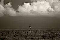 Sailboat in harbor at Charlotte Amalle. St. Thomas. US Virgin Islands