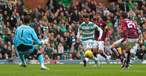 02.04.2016. Celtic Park, Glasgow, Scotland. Scottish Football Premiership Celtic versus Hearts. Patrick Roberts chips the ball past Neil Alexander for 2-1 to Celtic