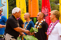 "HONOLULU, Oahu, Waimea Bay - Thursday, November 28, 2012 -- The 28th annual Quiksilver In Memory of Eddie Aikau official opening ceremony and blessing today at Waimea Bay on the North Shore of Oahu. The ceremony  featured this year's 28 Invitees, including newly elected riders John John Florence (Hawaii), Ian Walsh (Maui), and Alex Gray (California), as well as former ""Eddie"" champions Kelly Slater (Florida), Greg Long (California), and Ross Clarke-Jones (Australia). The surfers will be joined by members of the Aikau family, including Eddie's younger brother and Invitee Clyde Aikau...When the Invitees and Alternates paddled out and grouped in the traditional surfer's circle it's about camaraderie and making a connection to the others who will ultimately share in your experience and watch out for your safety..The holding period for the Quiksilver In Memory of Eddie Aikau will commence on Saturday, December 1, and runs through  to February 28, 2013. The event requires one day of quality waves in the giant range of 20 feet or more. Waves of this size are only generated occasionally by hurricane force winds from intense storms in the Pacific NW. The elements of wind, swell height and arrival time to the island's shore must be in perfect alignment to allow a full eight hours of daytime competition..Waimea Bay was Eddie Aikau's home away from home. It was here that he saved countless lives as the Bay's first official lifeguard, and successfully rode the largest waves of his day. An early pioneer of big wave riding in Hawaii, Eddie has inspired generations of ""storm surfers"" who today roam the globe year-round in search of giant waves..The Quiksilver In Memory of Eddie Aikau has only been held a total of eight (8) times, most recently on December 8, 2009. California's Greg Long (California) took the honor that year. .Photo: joliphotos.com"