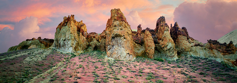 Rock formations with red Brome Grass and clouds in Leslie Gultch. Malhuer County, Oregon