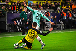 05.11.2019, Signal Iduna Park, Dortmund , GER, Champions League, Gruppenphase, Borussia Dortmund vs Inter Mailand, UEFA REGULATIONS PROHIBIT ANY USE OF PHOTOGRAPHS AS IMAGE SEQUENCES AND/OR QUASI-VIDEO<br /> <br /> im Bild | picture shows:<br /> Foulspiel von Thorgan Hazard (Borussia Dortmund #23) an Nicolo Barella (Inter #23),<br /> <br /> Foto © nordphoto / Rauch