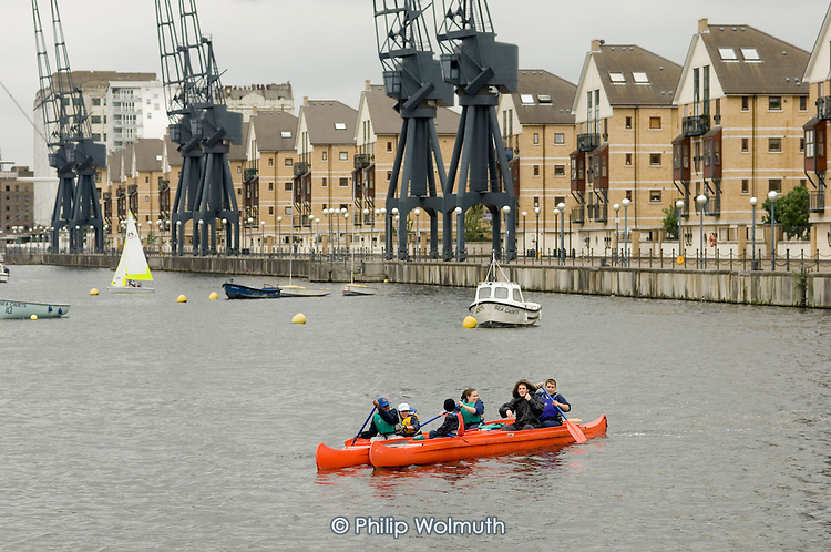 Sea Cadets train at the Royal Victoria Dock, which will be used for the London 2012 Olympic Games.