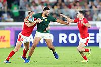 27th October 2019, Oita, Japan;  Damian de Allende (RSA) tries to hand off the tackles; 2019 Rugby World Cup Semi-final match between Wales 16-19 South Africa <br /> at International Stadium Yokohama in Yokohama, Kanagawa, Japan.